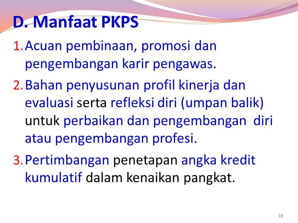 D. Manfaat PKPS Acuan pembinaan, promosi dan pengembangan karir pengawas.