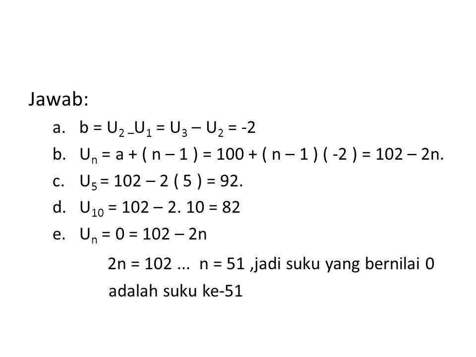 2n = 102 ... n = 51 ,jadi suku yang bernilai 0