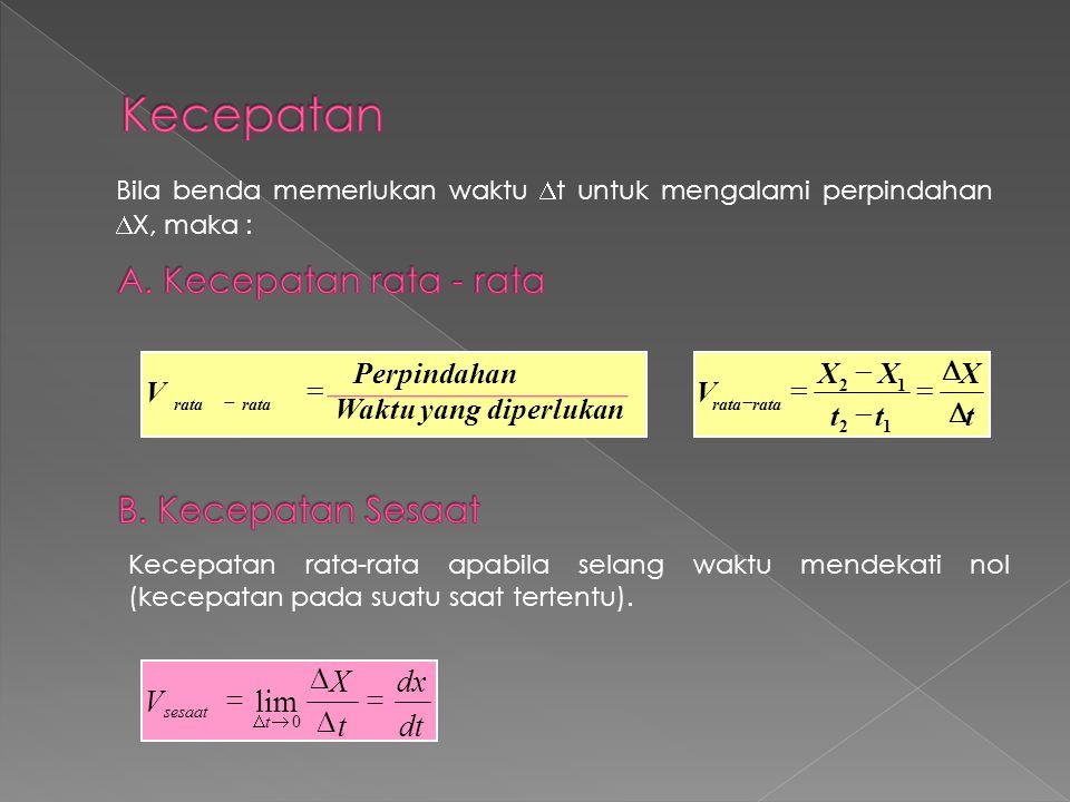 Kecepatan A. Kecepatan rata - rata B. Kecepatan Sesaat dt dx t X V = D