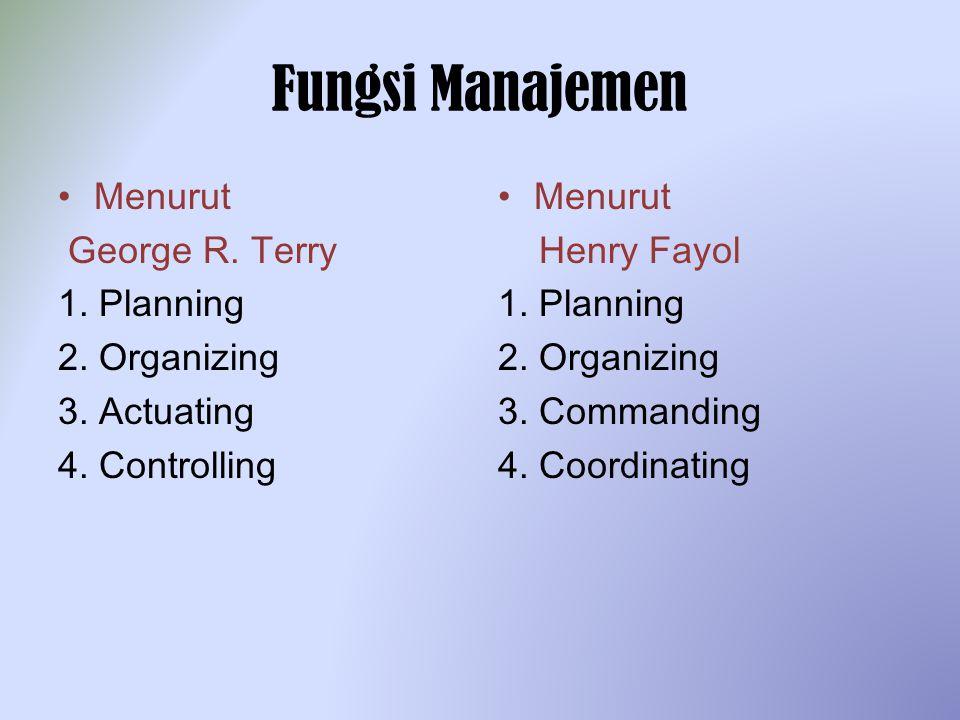 Fungsi Manajemen Menurut George R. Terry 1. Planning 2. Organizing