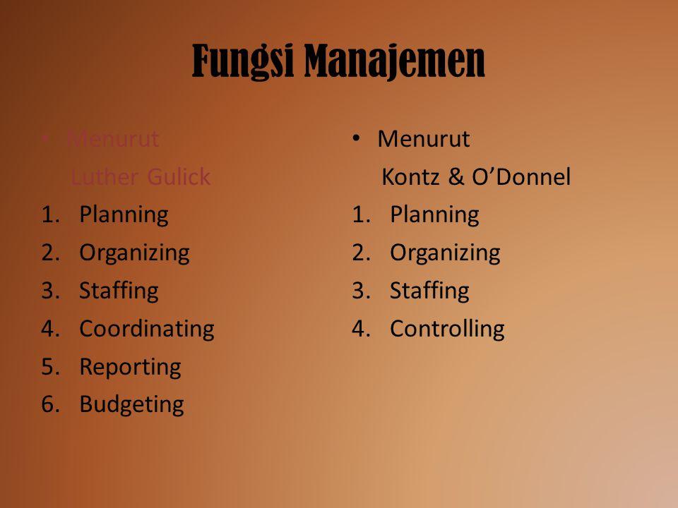 Fungsi Manajemen Menurut Luther Gulick Planning Organizing Staffing