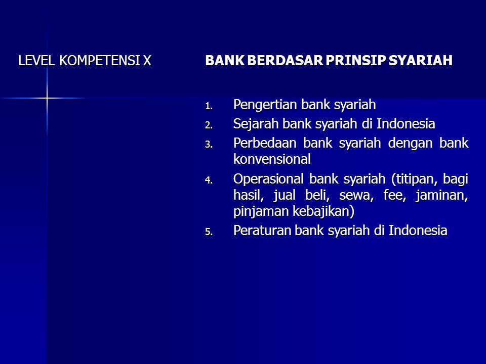 LEVEL KOMPETENSI X BANK BERDASAR PRINSIP SYARIAH. Pengertian bank syariah. Sejarah bank syariah di Indonesia.