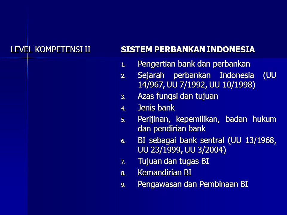 LEVEL KOMPETENSI II SISTEM PERBANKAN INDONESIA. Pengertian bank dan perbankan. Sejarah perbankan Indonesia (UU 14/967, UU 7/1992, UU 10/1998)