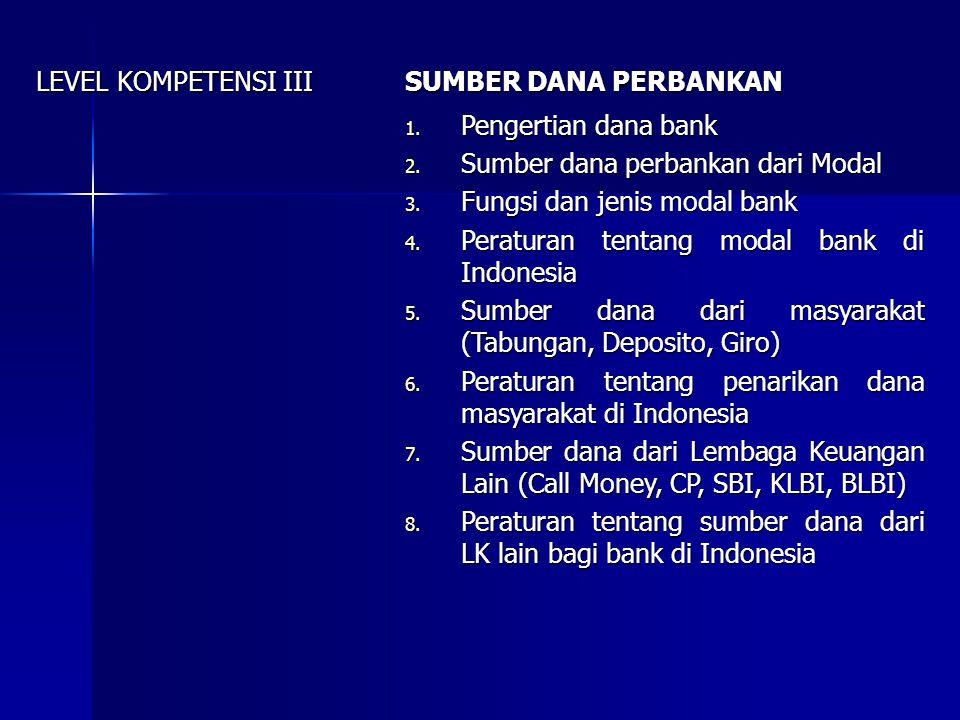 LEVEL KOMPETENSI III SUMBER DANA PERBANKAN. Pengertian dana bank. Sumber dana perbankan dari Modal.
