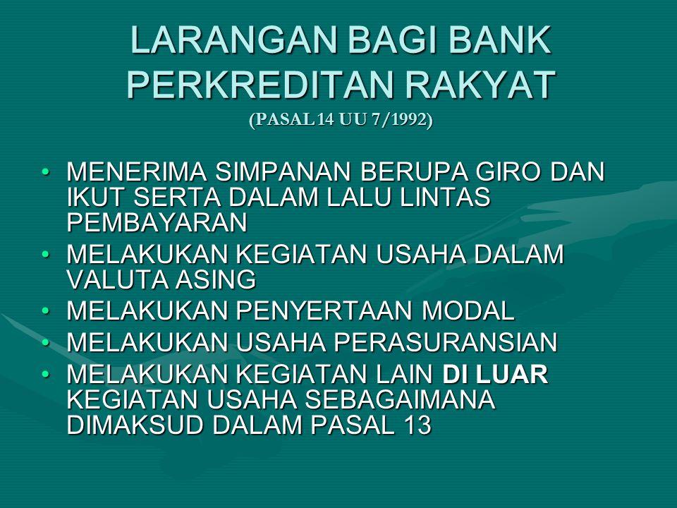 LARANGAN BAGI BANK PERKREDITAN RAKYAT (PASAL 14 UU 7/1992)
