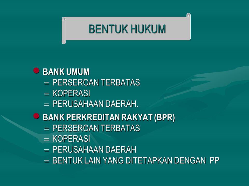 BENTUK HUKUM BANK UMUM PERSEROAN TERBATAS KOPERASI PERUSAHAAN DAERAH.