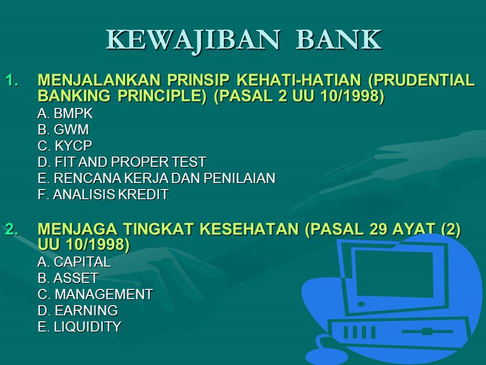 KEWAJIBAN BANK MENJALANKAN PRINSIP KEHATI-HATIAN (PRUDENTIAL BANKING PRINCIPLE) (PASAL 2 UU 10/1998)