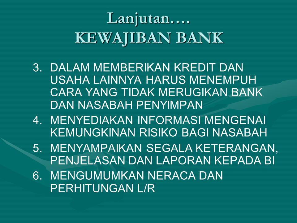 Lanjutan…. KEWAJIBAN BANK