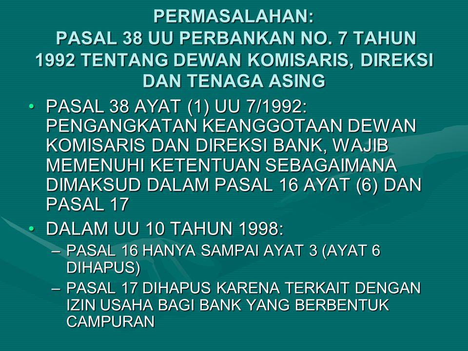 PERMASALAHAN: PASAL 38 UU PERBANKAN NO