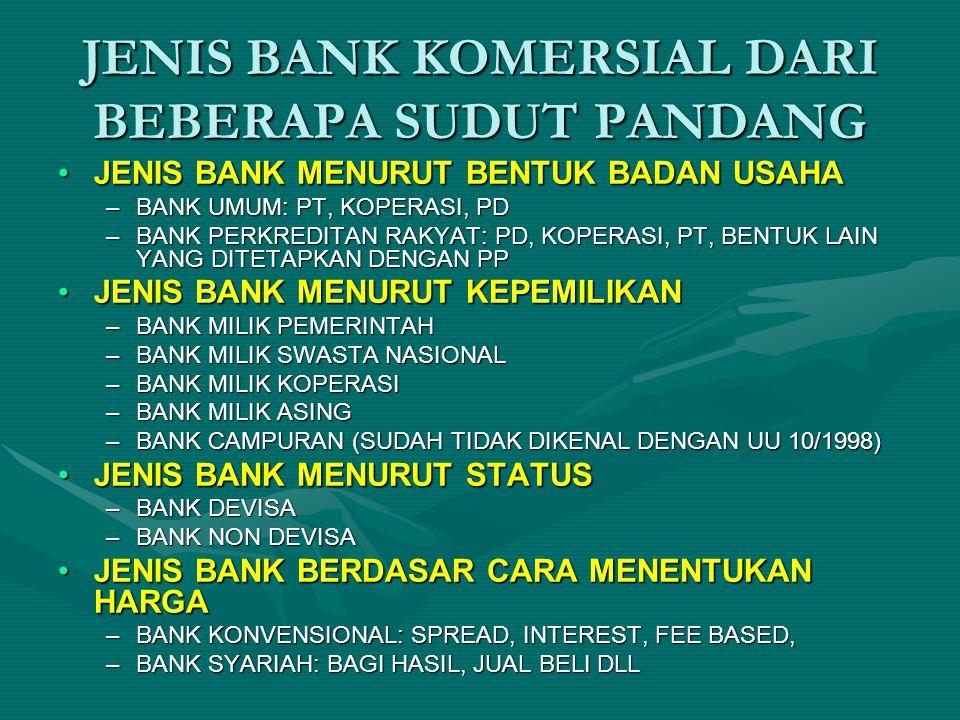 JENIS BANK KOMERSIAL DARI BEBERAPA SUDUT PANDANG