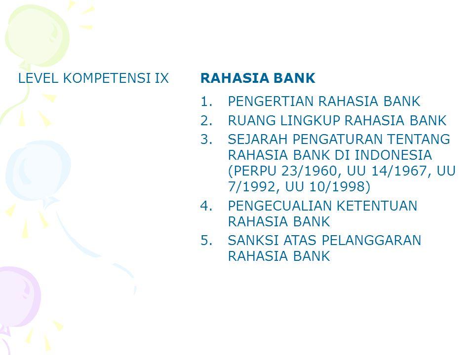 LEVEL KOMPETENSI IX RAHASIA BANK. PENGERTIAN RAHASIA BANK. RUANG LINGKUP RAHASIA BANK.