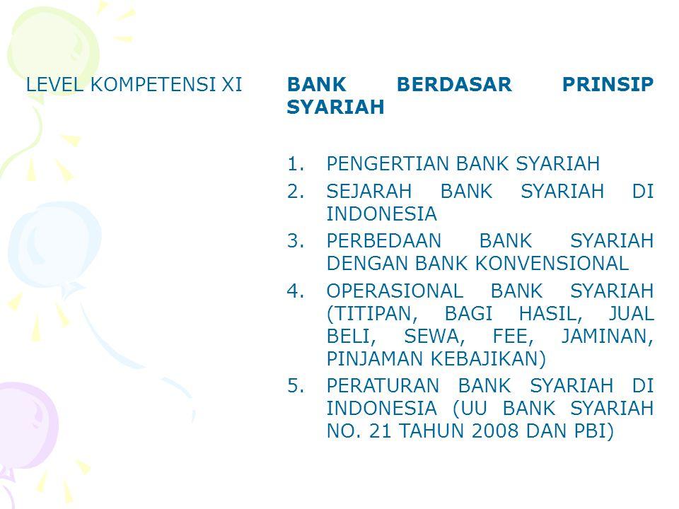 LEVEL KOMPETENSI XI BANK BERDASAR PRINSIP SYARIAH. PENGERTIAN BANK SYARIAH. SEJARAH BANK SYARIAH DI INDONESIA.