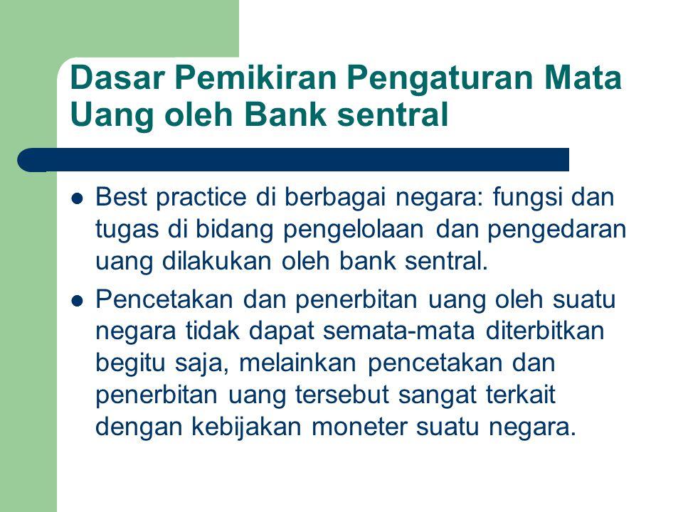 Dasar Pemikiran Pengaturan Mata Uang oleh Bank sentral