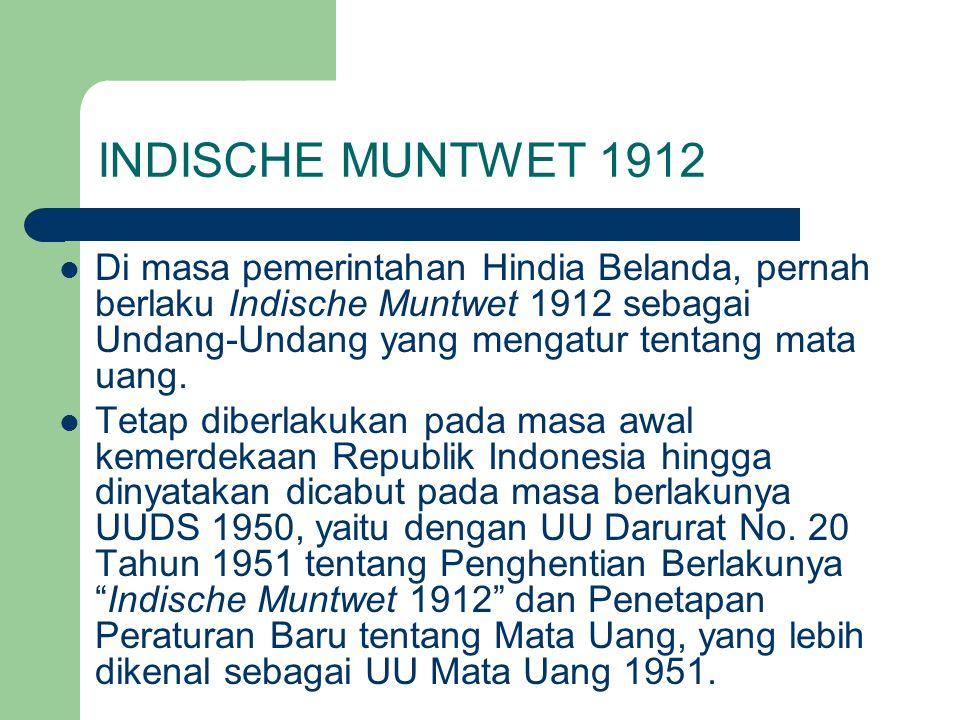INDISCHE MUNTWET 1912