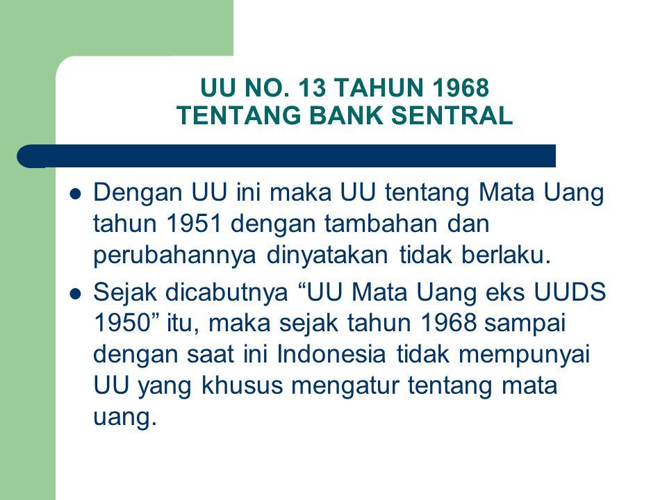 UU NO. 13 TAHUN 1968 TENTANG BANK SENTRAL