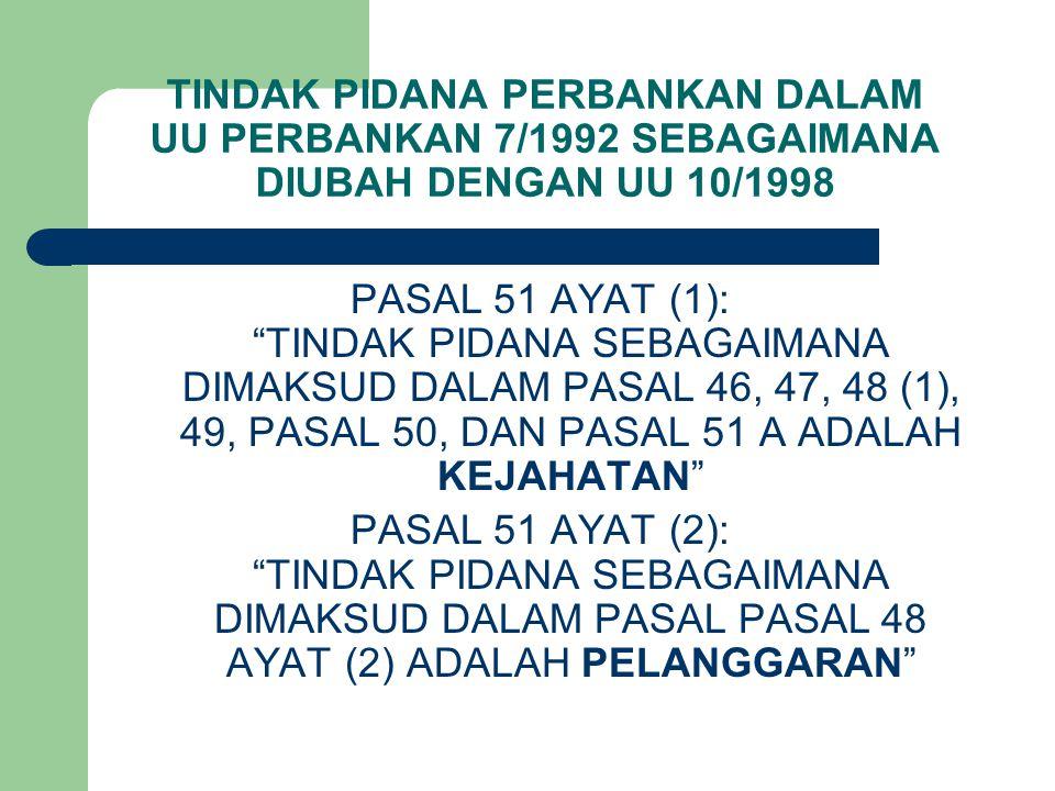 TINDAK PIDANA PERBANKAN DALAM UU PERBANKAN 7/1992 SEBAGAIMANA DIUBAH DENGAN UU 10/1998
