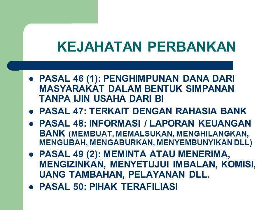 KEJAHATAN PERBANKAN PASAL 46 (1): PENGHIMPUNAN DANA DARI MASYARAKAT DALAM BENTUK SIMPANAN TANPA IJIN USAHA DARI BI.