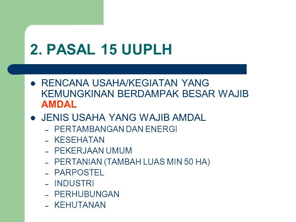 2. PASAL 15 UUPLH RENCANA USAHA/KEGIATAN YANG KEMUNGKINAN BERDAMPAK BESAR WAJIB AMDAL. JENIS USAHA YANG WAJIB AMDAL.