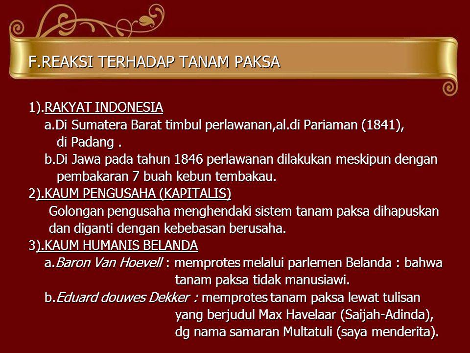 F.REAKSI TERHADAP TANAM PAKSA