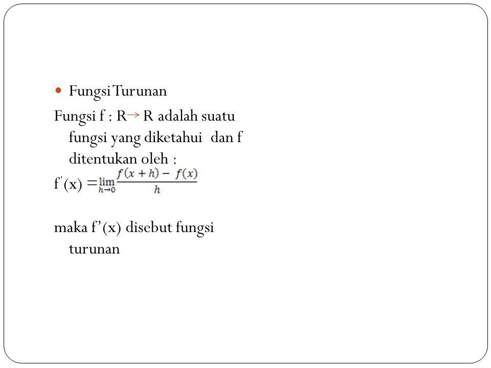Fungsi Turunan Fungsi f : R R adalah suatu fungsi yang diketahui dan f ditentukan oleh : f'(x) =