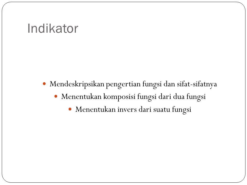 Indikator Mendeskripsikan pengertian fungsi dan sifat-sifatnya
