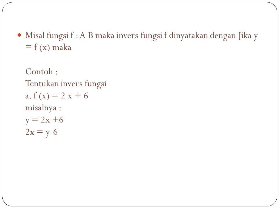 Misal fungsi f : A B maka invers fungsi f dinyatakan dengan Jika y = f (x) maka Contoh : Tentukan invers fungsi a.