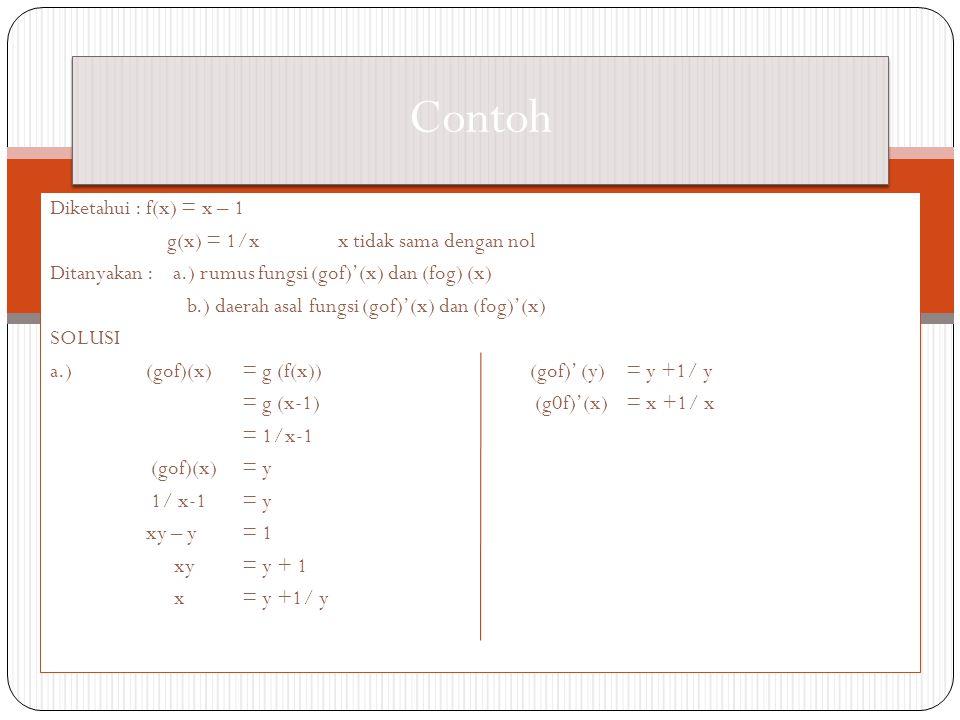 Contoh Diketahui : f(x) = x – 1 g(x) = 1/x x tidak sama dengan nol