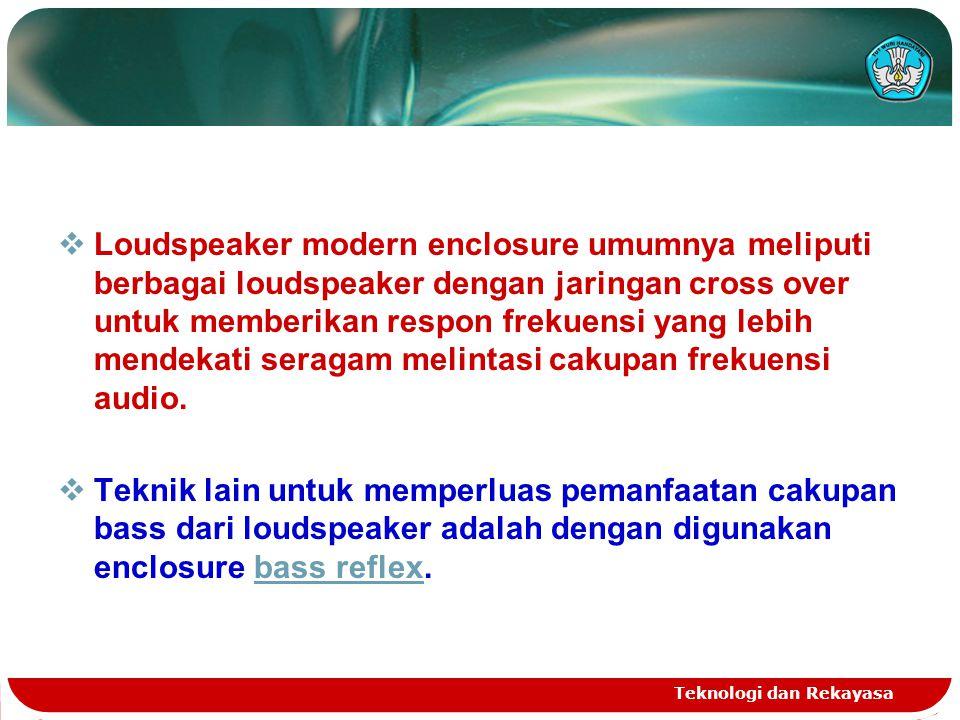 Loudspeaker modern enclosure umumnya meliputi berbagai loudspeaker dengan jaringan cross over untuk memberikan respon frekuensi yang lebih mendekati seragam melintasi cakupan frekuensi audio.