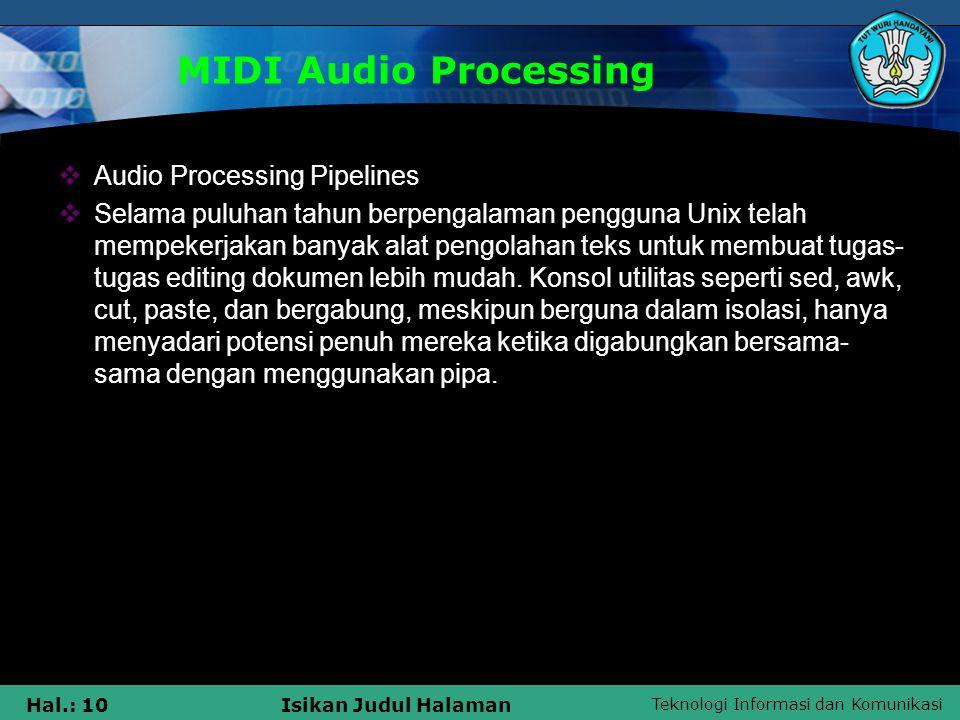 MIDI Audio Processing Audio Processing Pipelines