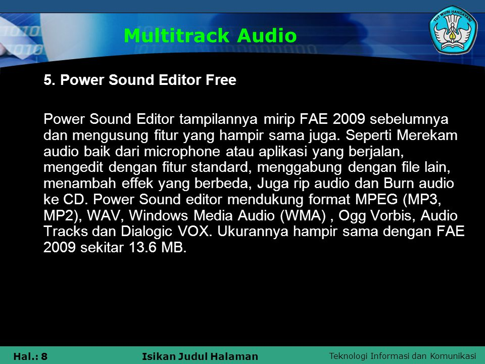Multitrack Audio 5. Power Sound Editor Free