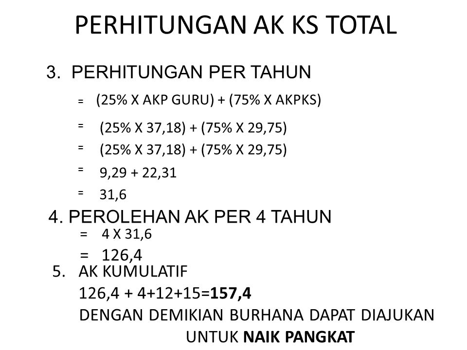 PERHITUNGAN AK KS TOTAL