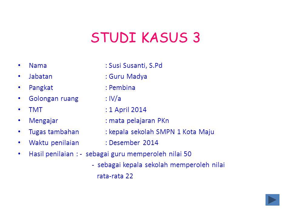 STUDI KASUS 3 Nama : Susi Susanti, S.Pd Jabatan : Guru Madya