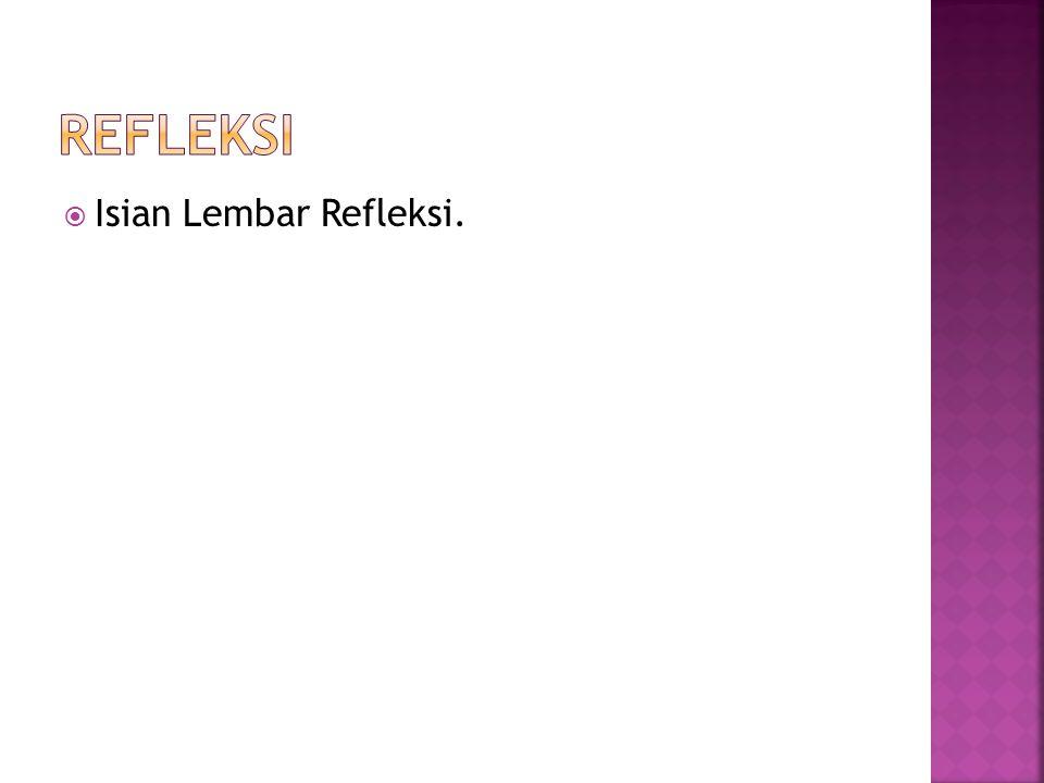 REFLEKSI Isian Lembar Refleksi.