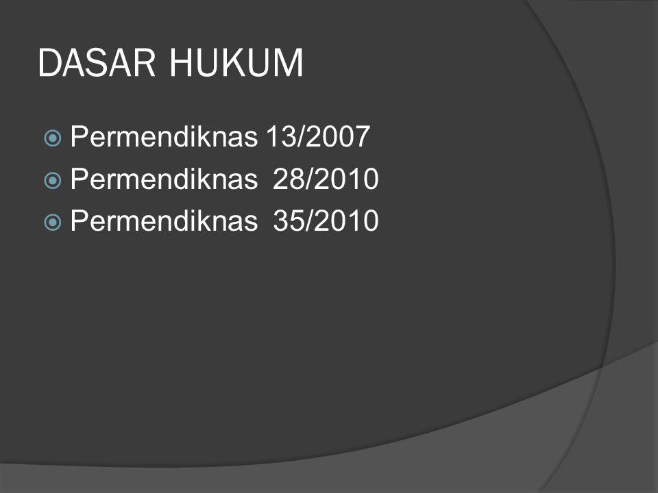 DASAR HUKUM Permendiknas 13/2007 Permendiknas 28/2010