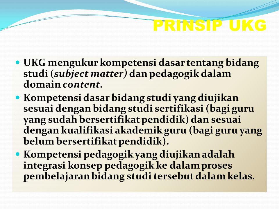 PRINSIP UKG UKG mengukur kompetensi dasar tentang bidang studi (subject matter) dan pedagogik dalam domain content.