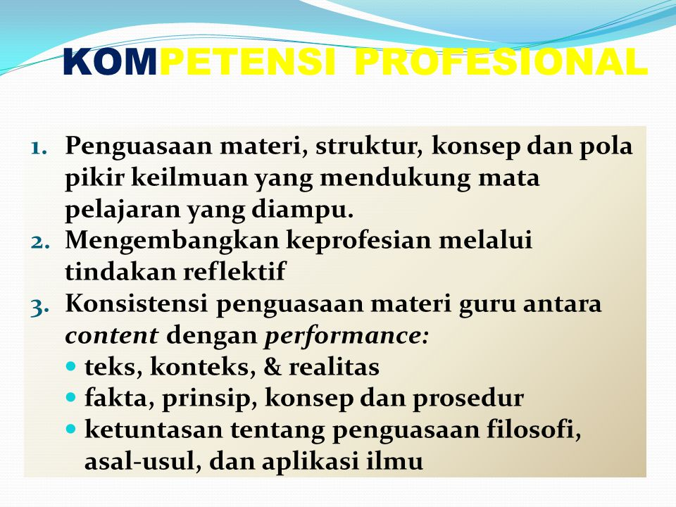 KOMPETENSI PROFESIONAL