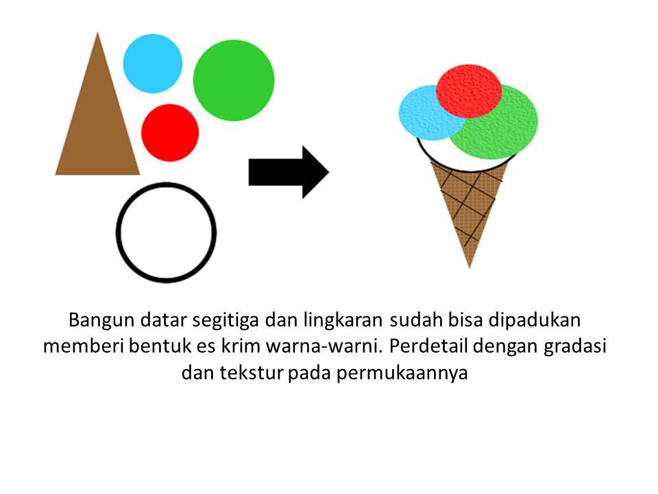 Bangun datar segitiga dan lingkaran sudah bisa dipadukan memberi bentuk es krim warna-warni.