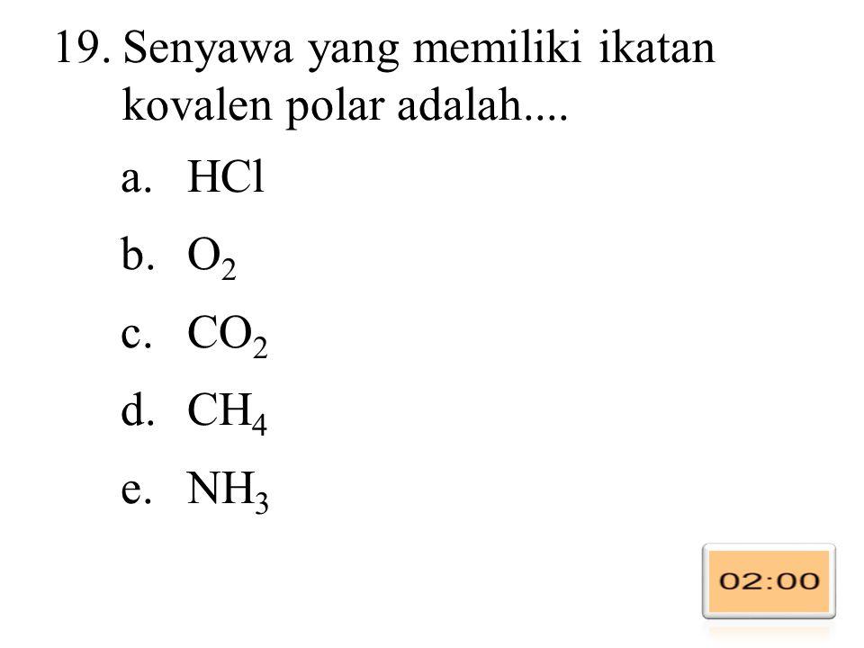 Senyawa yang memiliki ikatan kovalen polar adalah....