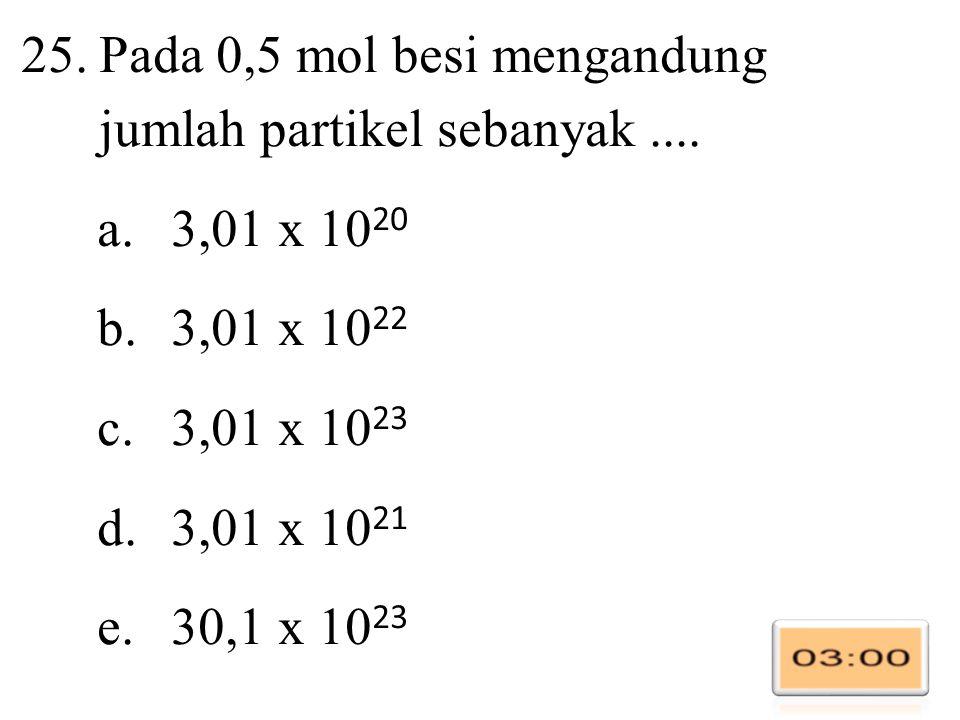 Pada 0,5 mol besi mengandung jumlah partikel sebanyak ....