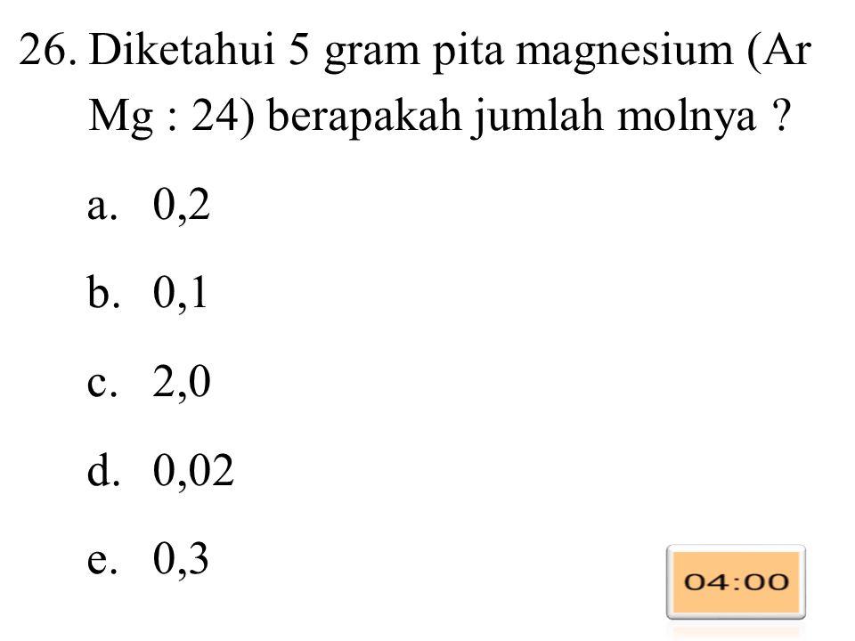 Diketahui 5 gram pita magnesium (Ar Mg : 24) berapakah jumlah molnya