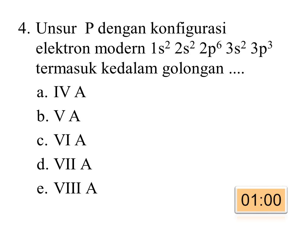 Unsur P dengan konfigurasi elektron modern 1s2 2s2 2p6 3s2 3p3 termasuk kedalam golongan ....