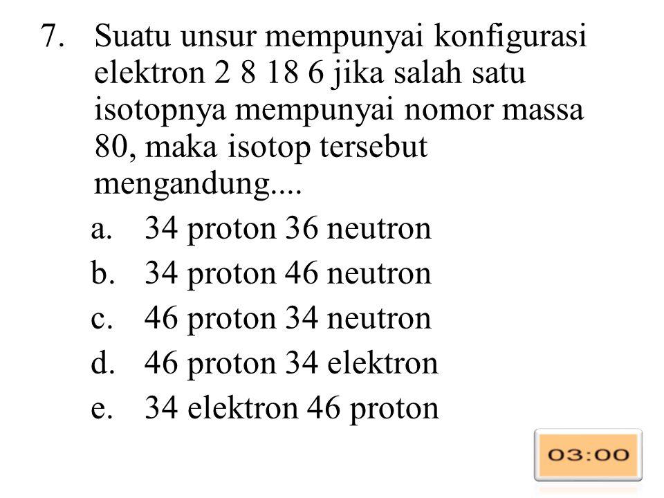 Suatu unsur mempunyai konfigurasi elektron 2 8 18 6 jika salah satu isotopnya mempunyai nomor massa 80, maka isotop tersebut mengandung....