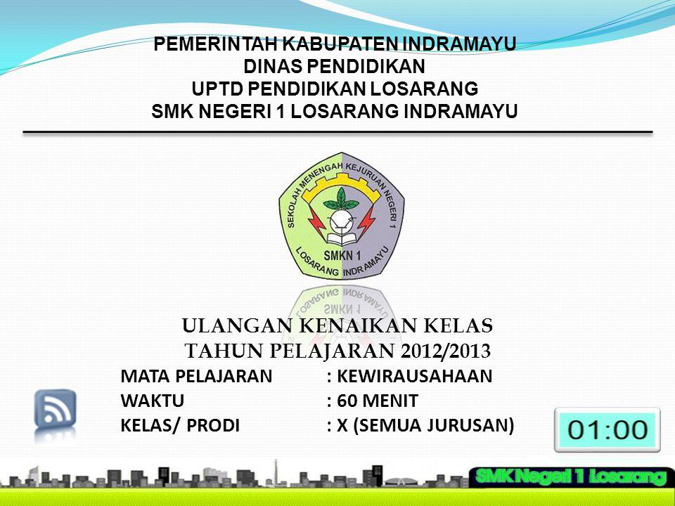 ULANGAN KENAIKAN KELAS TAHUN PELAJARAN 2012/2013