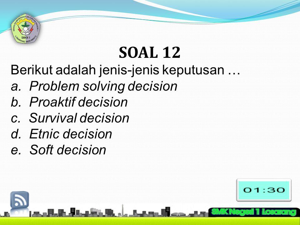 SOAL 12 Berikut adalah jenis-jenis keputusan …