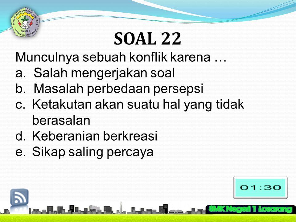 SOAL 22 Munculnya sebuah konflik karena … a. Salah mengerjakan soal