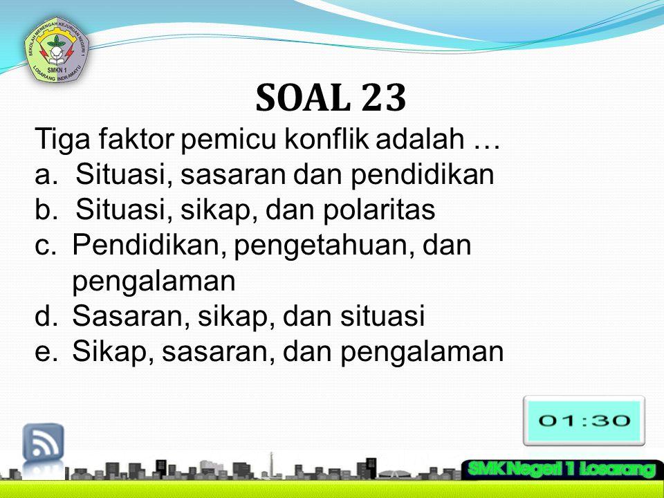 SOAL 23 Tiga faktor pemicu konflik adalah …