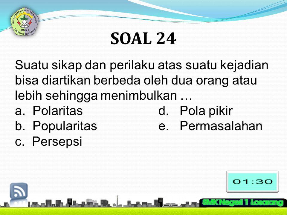 SOAL 24 Suatu sikap dan perilaku atas suatu kejadian bisa diartikan berbeda oleh dua orang atau lebih sehingga menimbulkan …