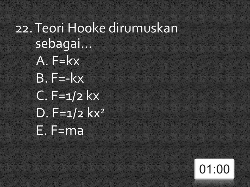 22. Teori Hooke dirumuskan sebagai. A. F=kx B. F=-kx C. F=1/2 kx D