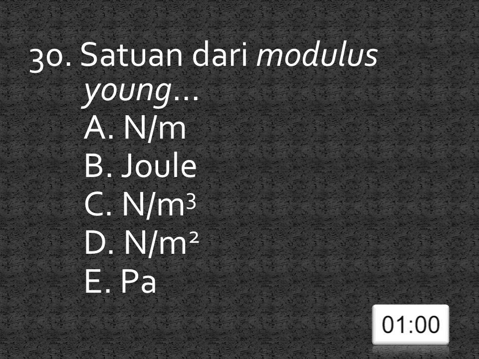 30. Satuan dari modulus young... A. N/m B. Joule C. N/m3 D. N/m2 E. Pa
