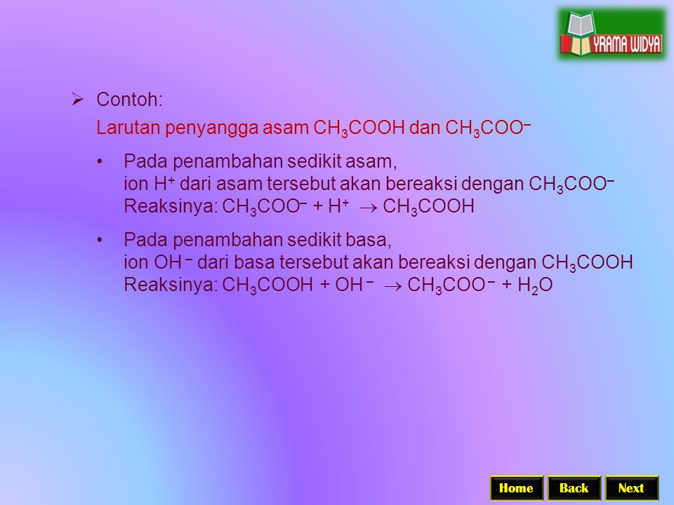 Larutan penyangga asam CH3COOH dan CH3COO–
